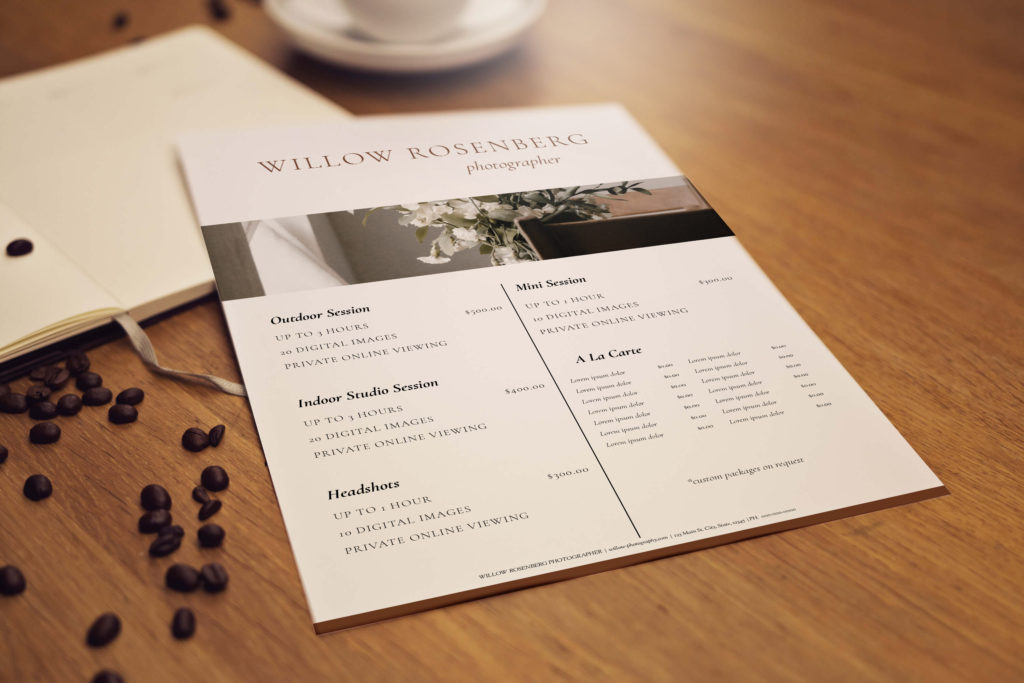 Mockup of a pricing sheet on a desk