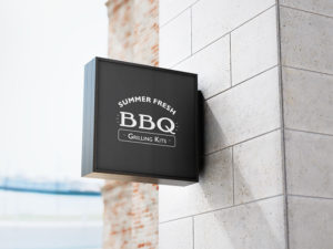 Mockup of SFBBQ logo on outdoor sign